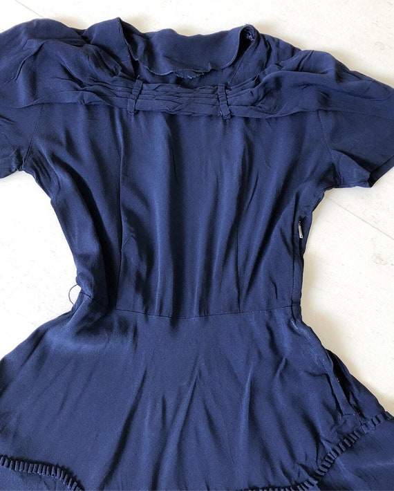 Timeless 1940s Navy Rayon Dress - image 3