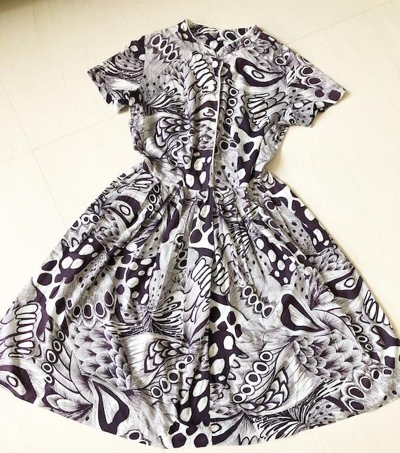 Amazing Rare 1930s/40s Peacock Feather Print Dress