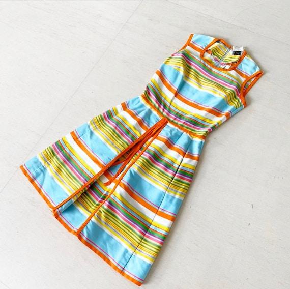 Gorgeous 60s Rainbow Stripe Pat Premo Dress