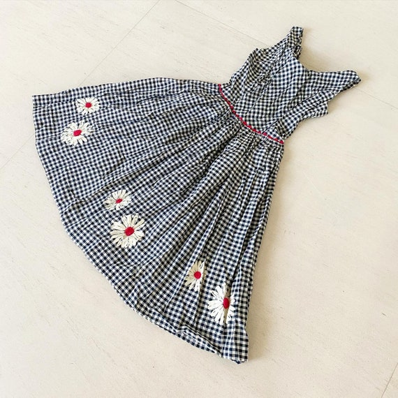 Pretty Gingham Daisies Dress