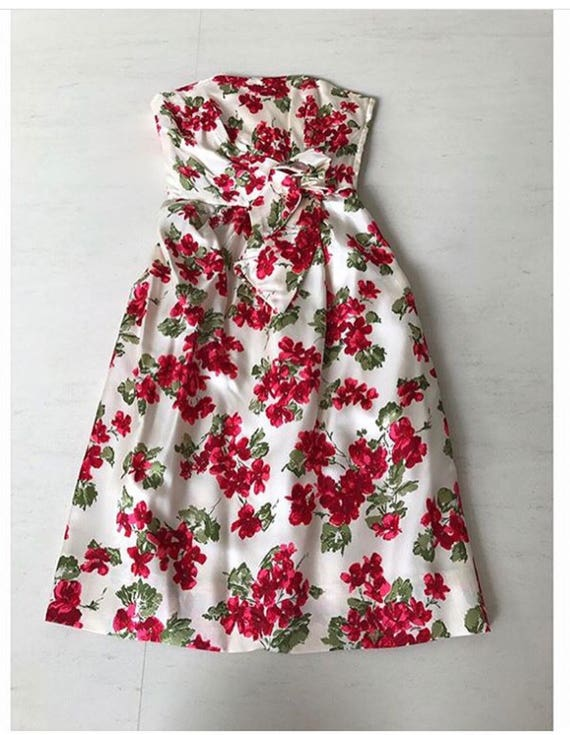 Amazing 1950s Vogue Couturier Design Rose Print B… - image 2