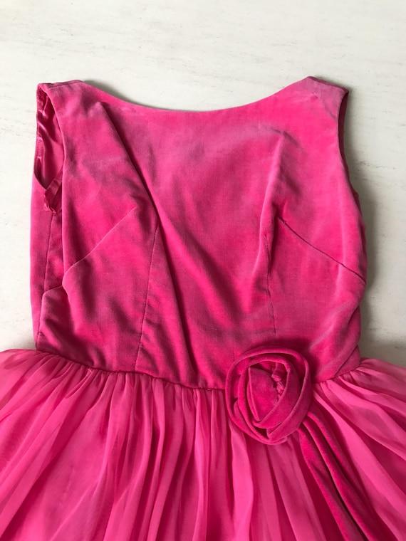 Pretty 1950s velvet chiffon dress - image 2