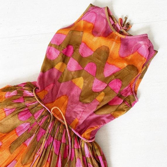 Stunning Psychedelic Print 50s L'Aiglon Dress