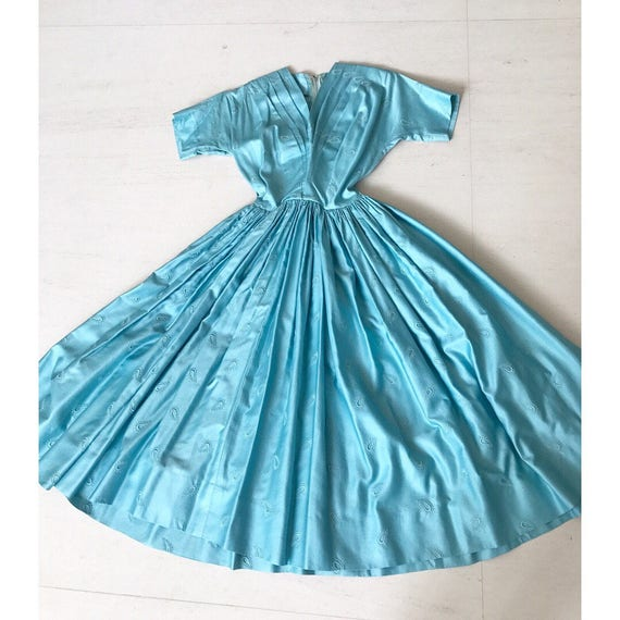 1950s Anne Fogarty Ice Blue Silk Dress