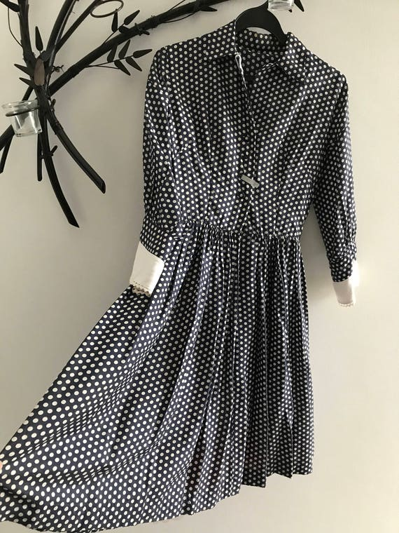1950s silk polka dot shirtdress