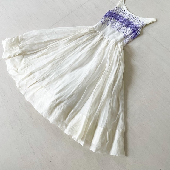 Prettt Purple Floral Embroidery Sundress