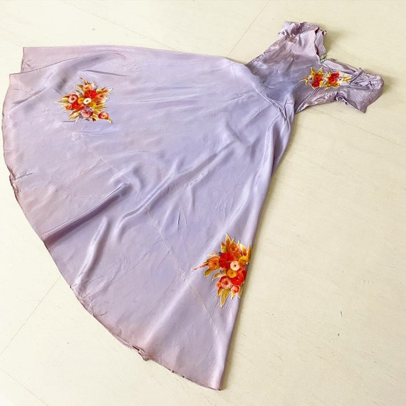Pretty Pale Lilac 40s Full Circle Dress with Flora