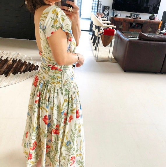 Beautiful 80s Floral Low Back Dress