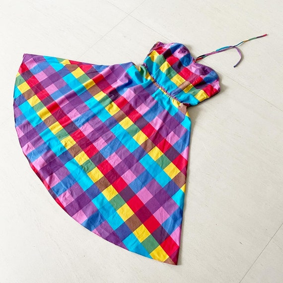 Lovely Rainbow Plaid Halter Sundress