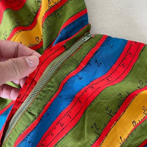 Rainbow Measuring Tape Novelty Print 50s Dress - image 7