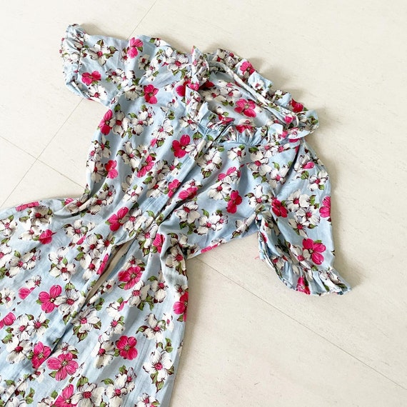 Lovely Cotton 40s Floral Half Front Zip House Dres