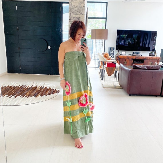 Stunning 70s Denim Dress Set with 3D Floral Appliq
