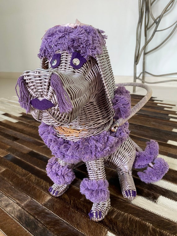 Insanely Rare Purple Poodle Wicker Novelty Purse