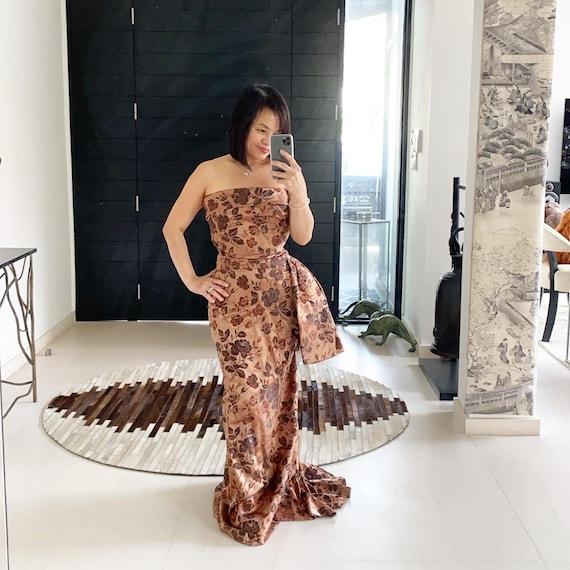 Rare Christian Dior 50s Silk Brocade Evening Gown