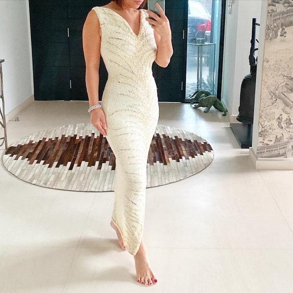 Super Vavavoom Ivory Gold Beaded Gene Shelly Dress