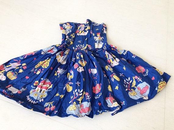 Cute Lanz Novelty Print Kids On Farm Dress