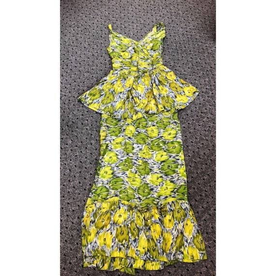 Amazing 1940s Silk Hawaiian Dress with Detachable