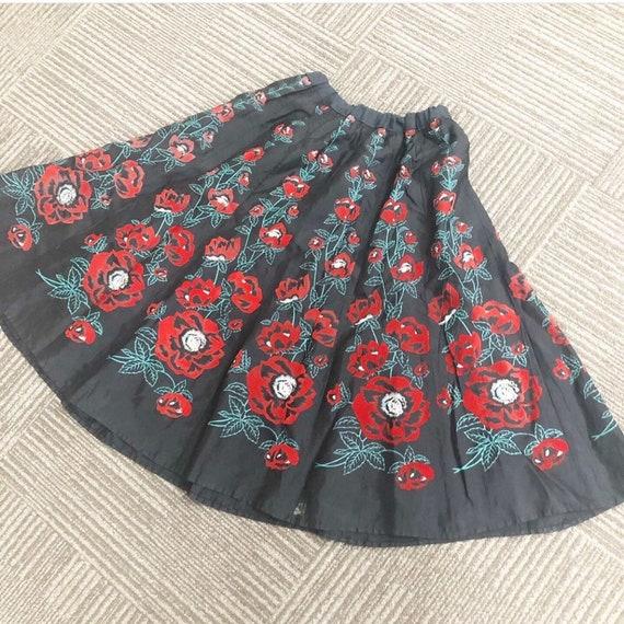 Beautiful Handpainted Velvet Flocked Poppies Skirt