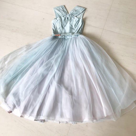 1950s Ice Blue Organza Tulle Dress XS