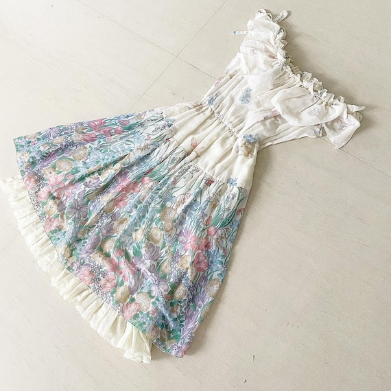 Ethereal 70s Faerie Princess Floral Sundress