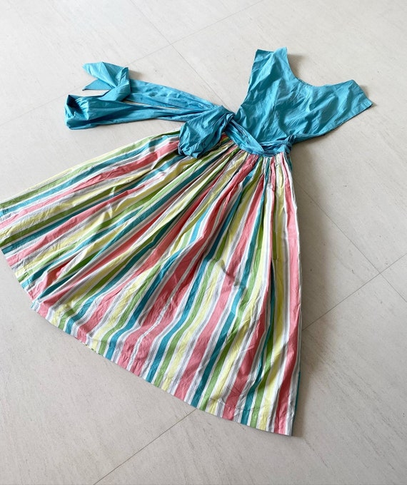 Pretty Pastel Rainbow Striped Dress - image 1