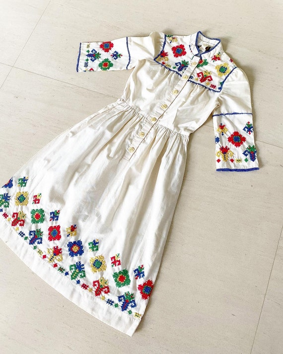 Pretty Cross Stitch Embroidered Dress