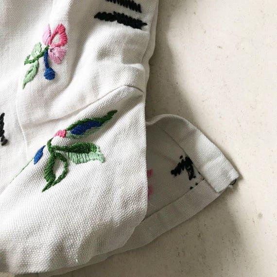 Rare 1930s Linen Embroidery Peplum Blouse - image 9