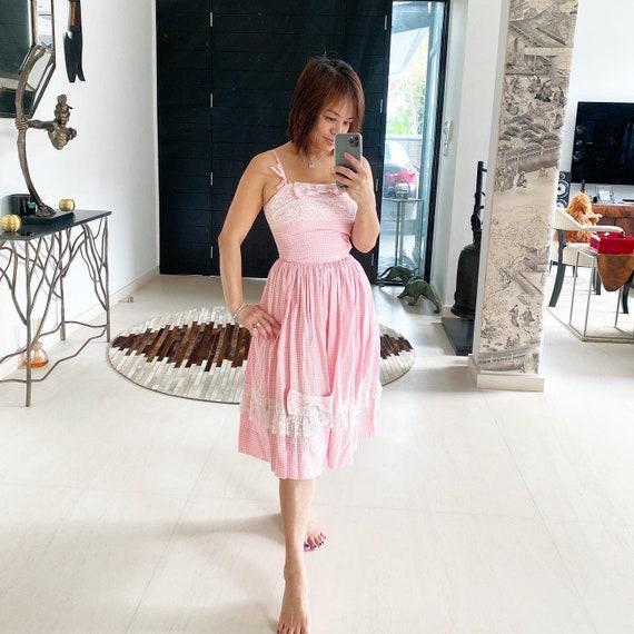 Beautiful Bridget Bardot Style 50s Gingham Dress