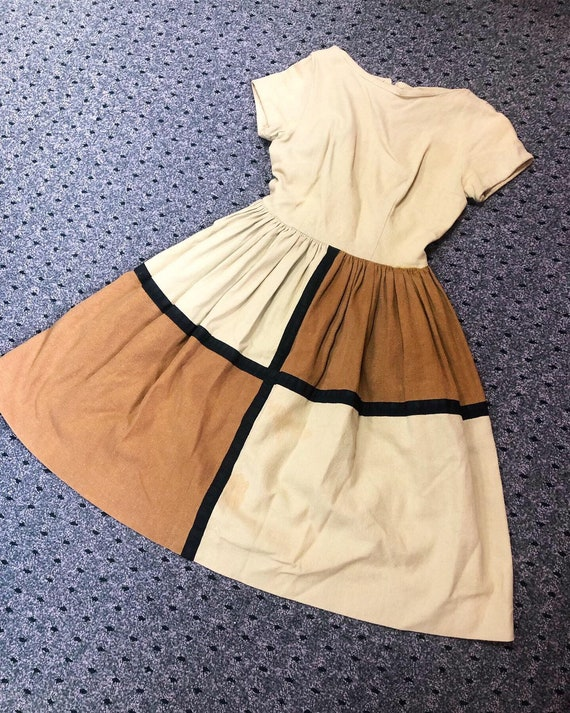 Cute Color Block 50s Dress
