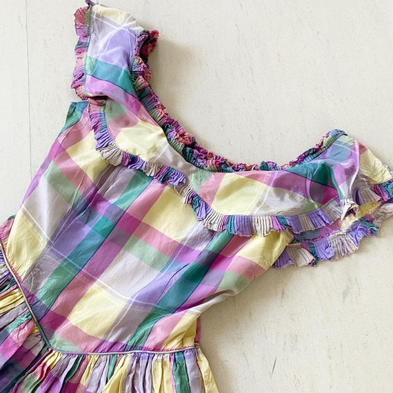 Pretty 40s Pastel Plaid Maxi Dress - image 2