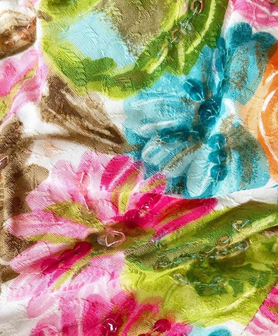 Pretty 50s Textured Cotton Floral Cocktail Dress - image 5
