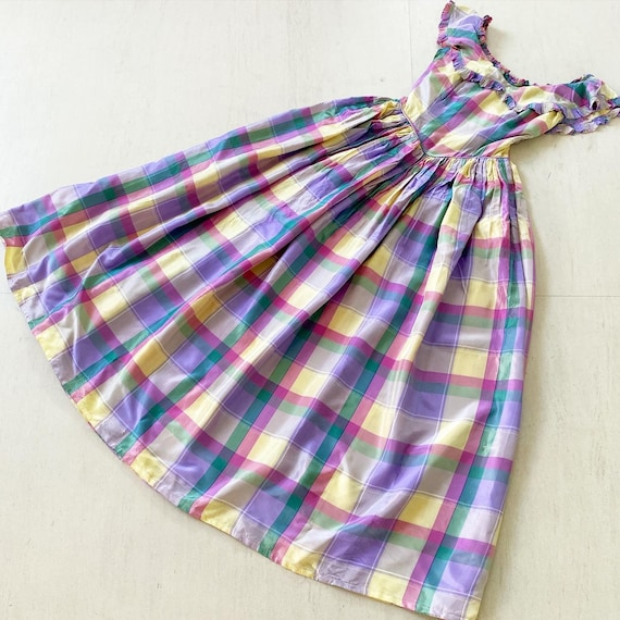 Pretty 40s Pastel Plaid Maxi Dress - image 1