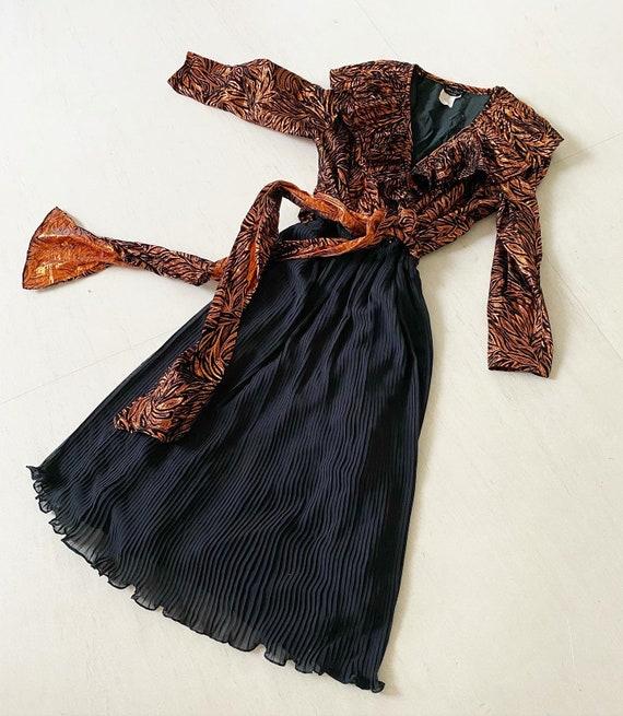 Vavavoom Metallic Copper Diane Freis Dress