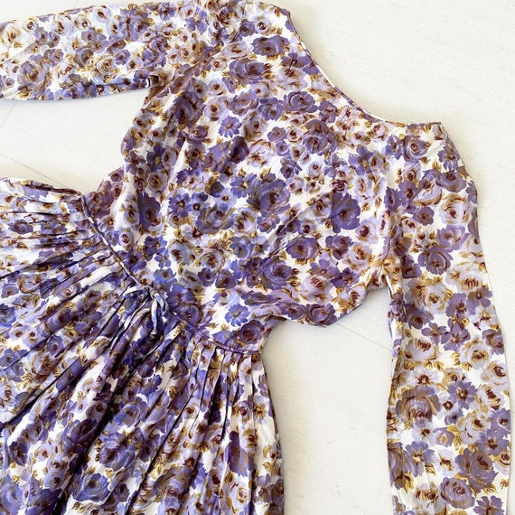 Beautiful Purple Rose Print 50s Dress