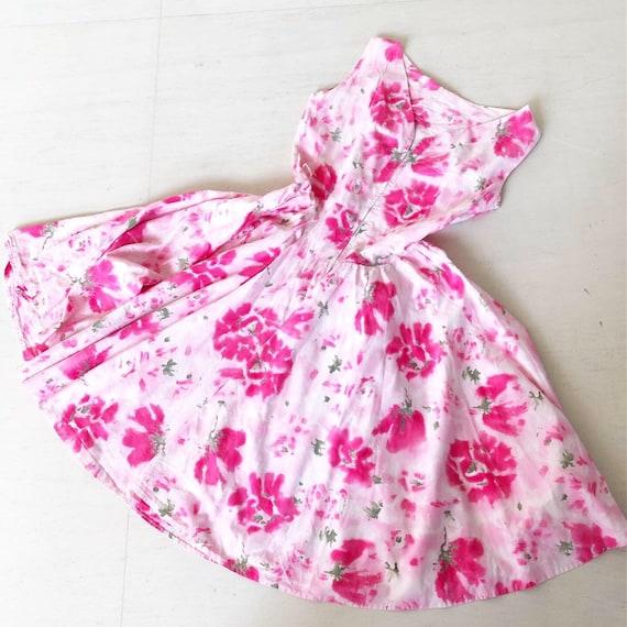 Pretty Pink Floral 50s Summer Dress