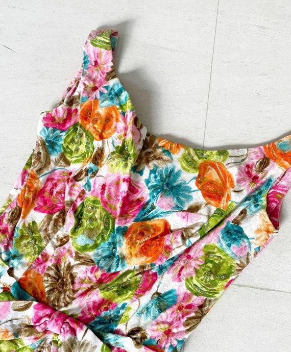 Pretty 50s Textured Cotton Floral Cocktail Dress - image 2