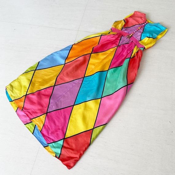 Gorgeous Rainbow Harlequin Maxi Dress
