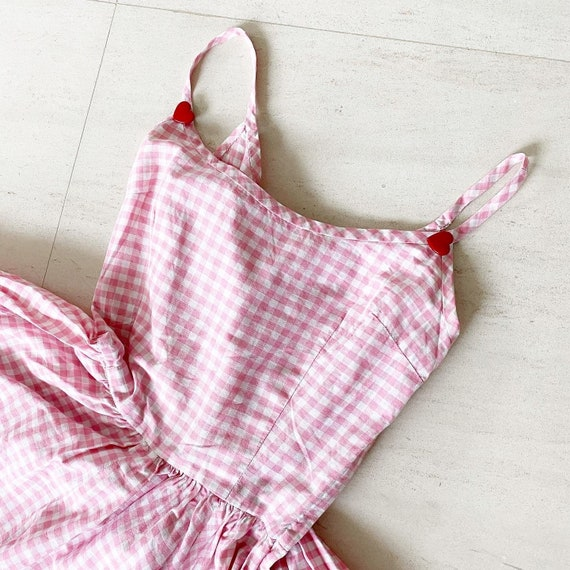 Sweet Pink Gingham Full Circle Dress with Hearts