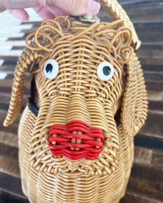 Cutest Ever Puppy Dog Novelty Wicker Purse - image 6