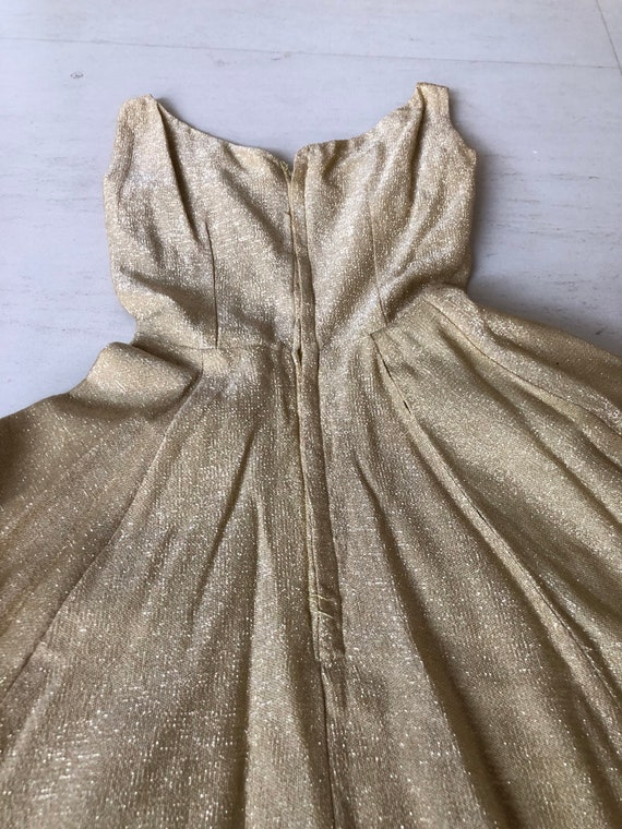 Vavavoom 50s Gold Lame Sundress - image 6
