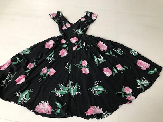 Rare 1930s Rose Print Rayon Full Circle Dress