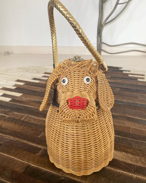 Cutest Ever Puppy Dog Novelty Wicker Purse