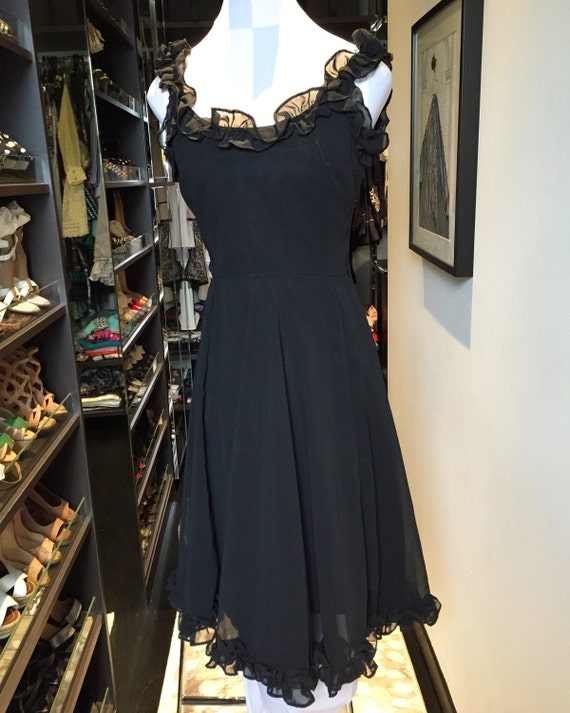 Vintage Tina Warren black ruffle dress