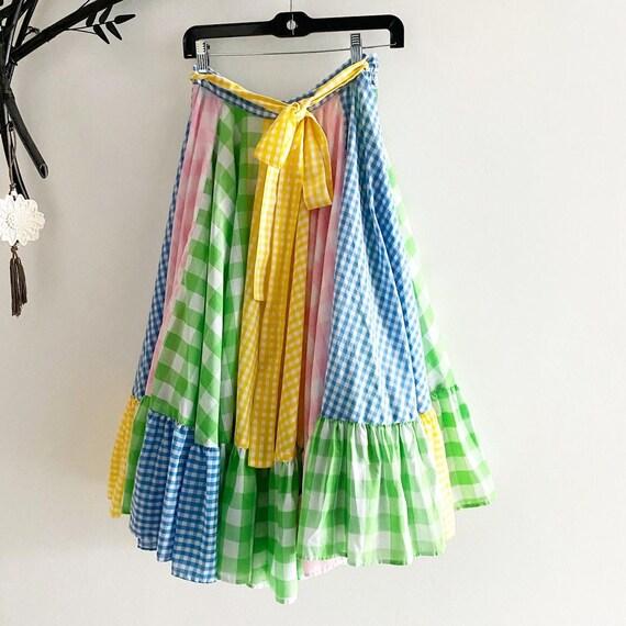 Insanely Full Pastel Gingham Circle Skirt