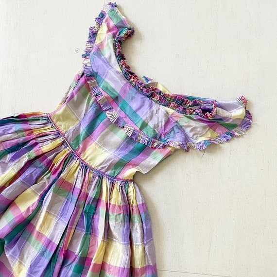 Pretty 40s Pastel Plaid Maxi Dress - image 7