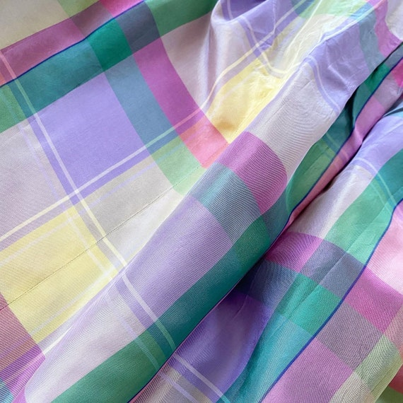 Pretty 40s Pastel Plaid Maxi Dress - image 4
