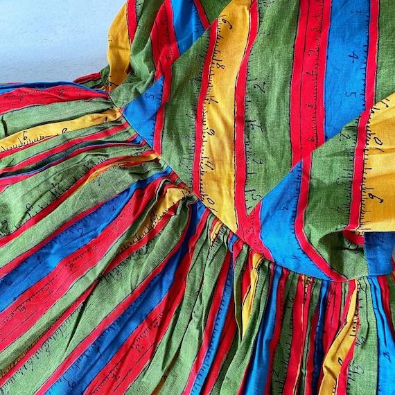 Rainbow Measuring Tape Novelty Print 50s Dress - image 5