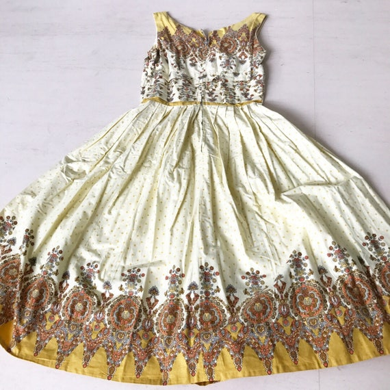 1950s Yellow Mustard Border Print Sundress