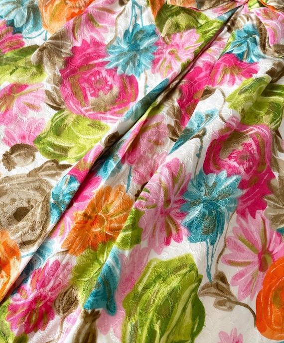 Pretty 50s Textured Cotton Floral Cocktail Dress - image 6