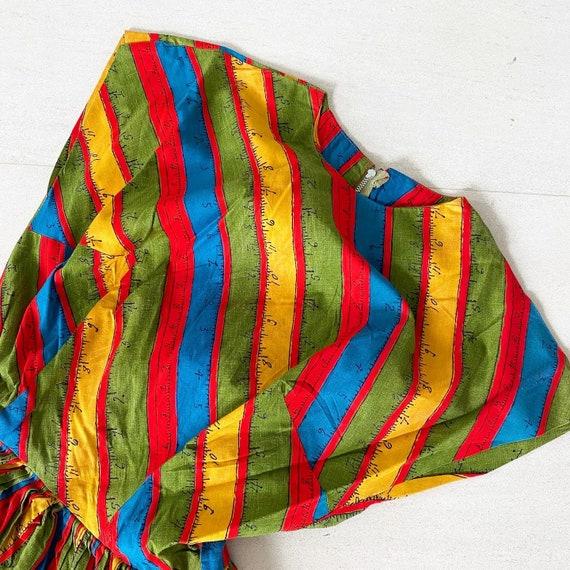 Rainbow Measuring Tape Novelty Print 50s Dress - image 2